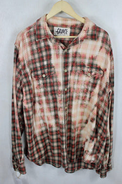 Vintage Red and Green Grunge Flannel Size XL