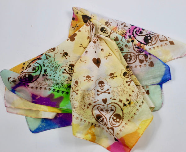 Multi-colored Reverse Dye Skull and Hearts Bandana
