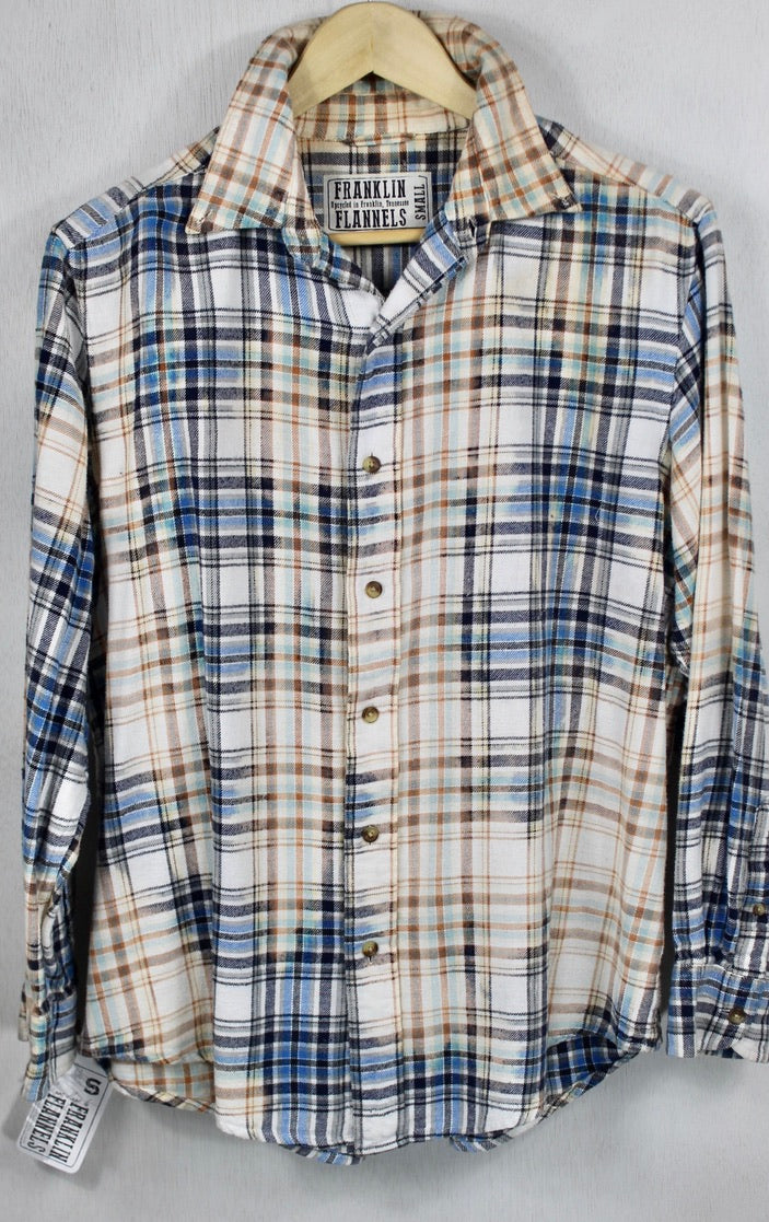Vintage Blue, White, Cream and Black Flannel Size Small