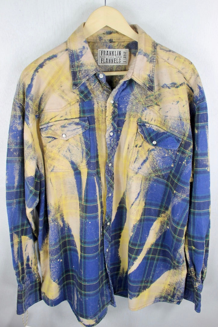 Vintage Western Cut Blue, Green and Dusty Yellow Size XL