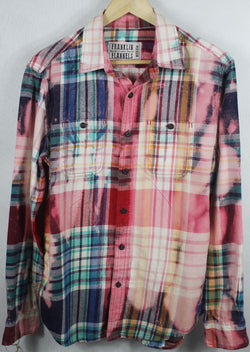 Vintage Pink, Turquoise, Yellow and Blue Flannel Size Medium