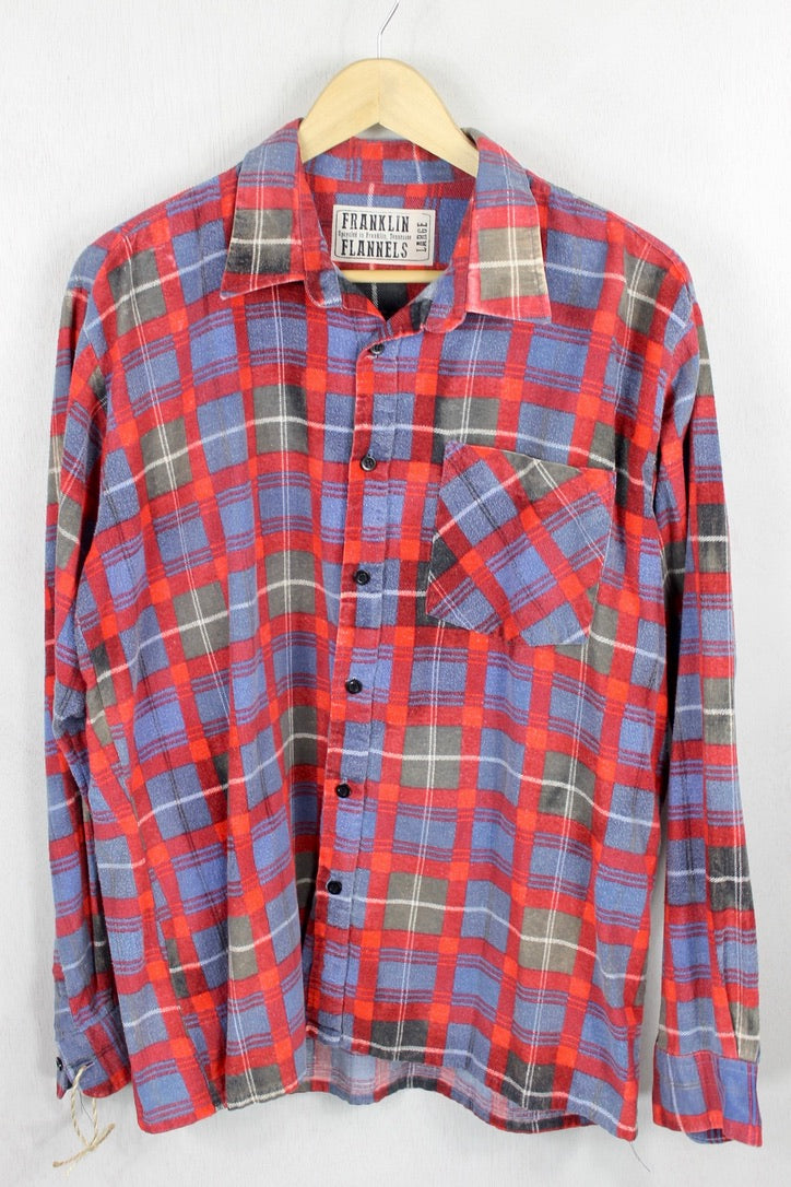 Vintage Retro Light Blue, Red, and Grey Flannel Size Large
