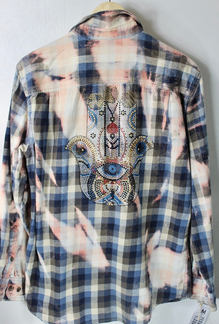 Vintage Navy Blue, Grey and Pink Flannel with Bling Size Medium