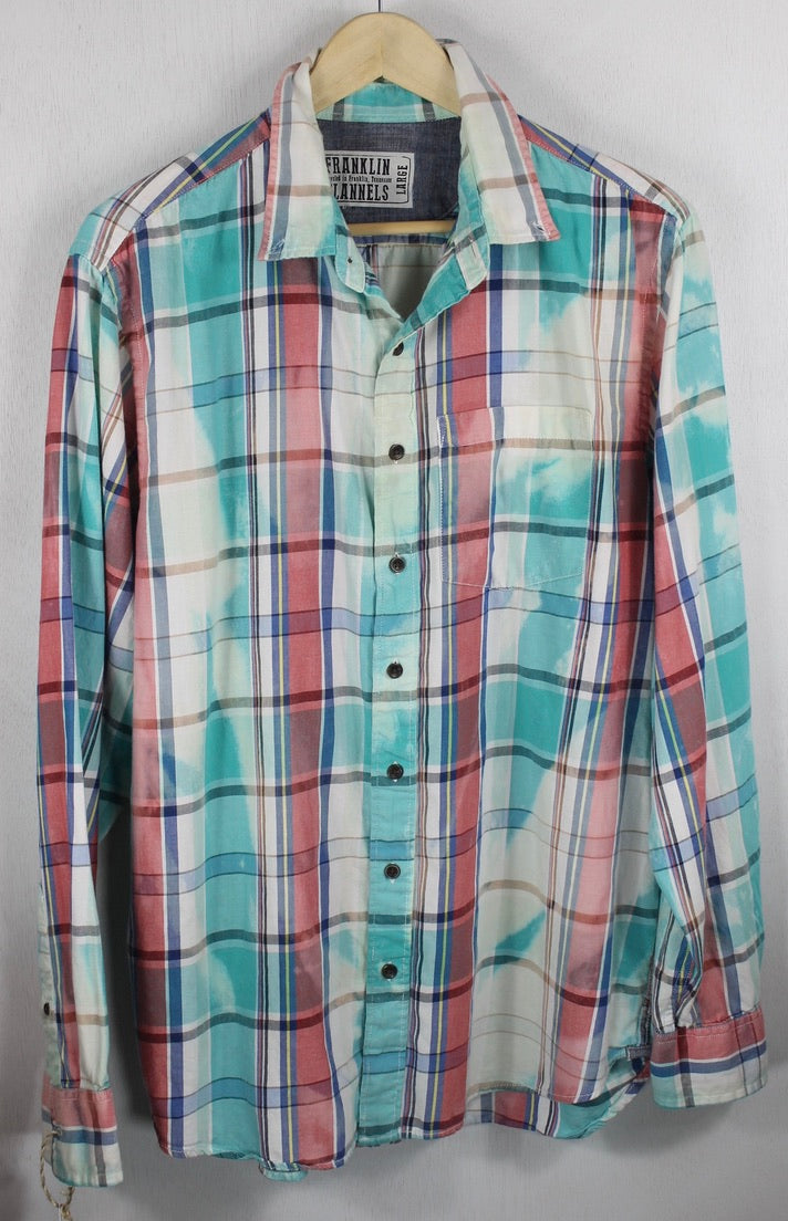 Vintage Turquoise, Pink and White Lightweight Flannel Size Large