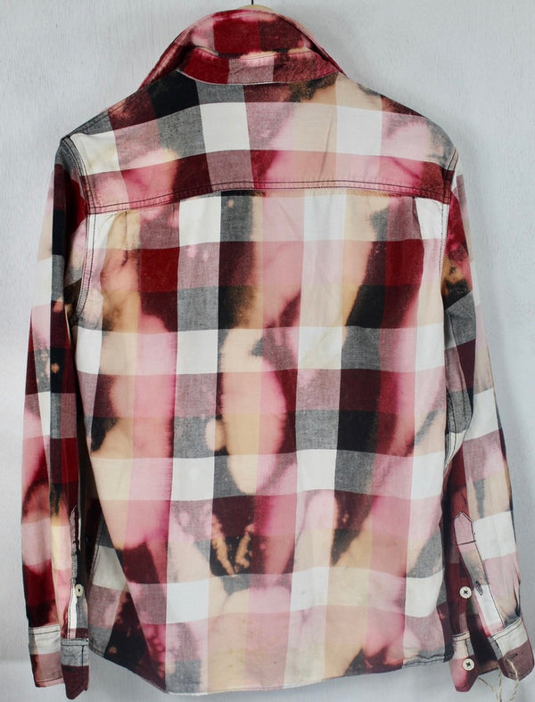 Vintage Red, Pink, White and Black Flannel Size Medium