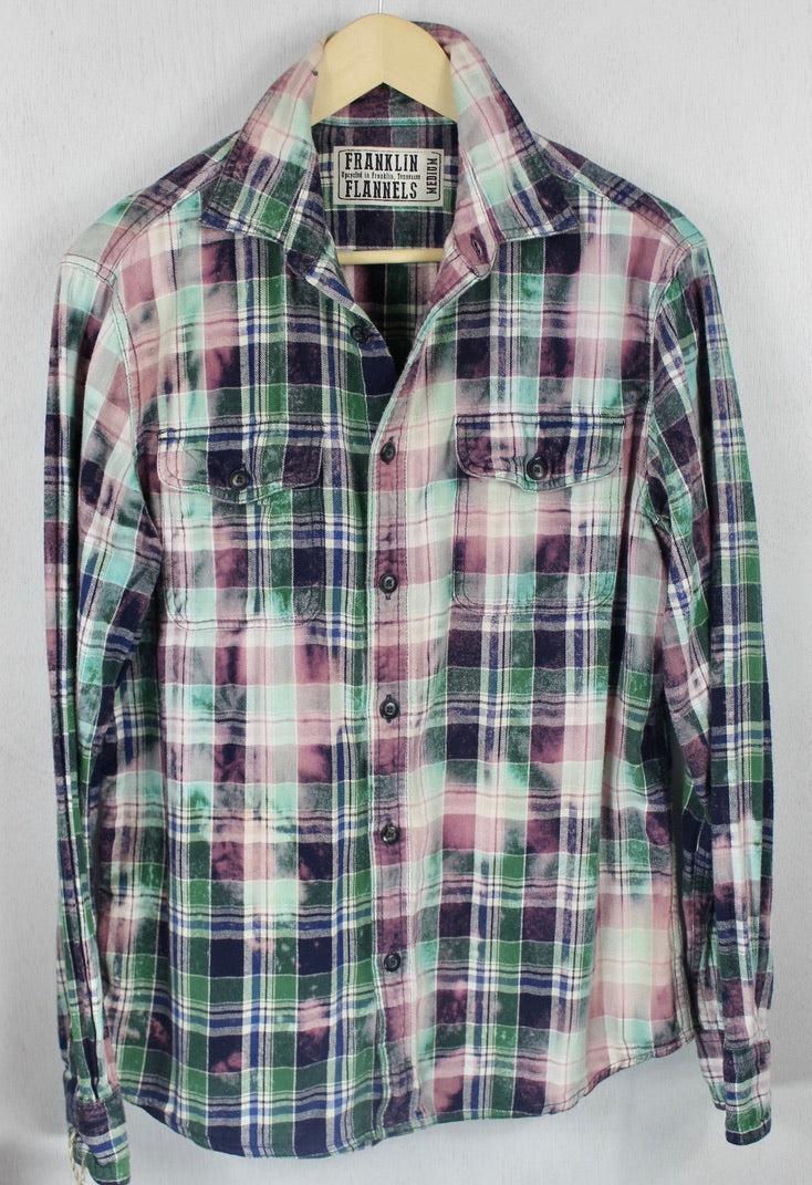 Vintage Mint Green, Lavender and Navy Flannel Size Medium
