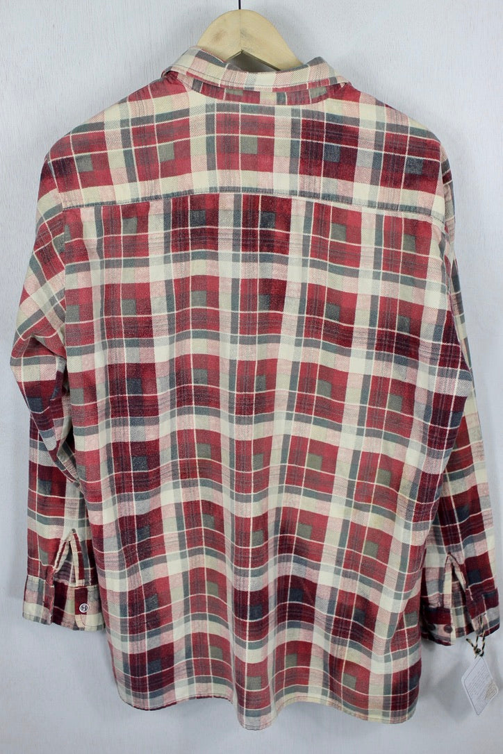 Vintage Retro Burgundy Red, Cream, and Grey Flannel Size Large