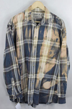 Vintage Blue and Cream Flannel Size XL