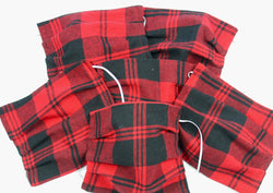 Red and Black Plaid Face Mask One Size