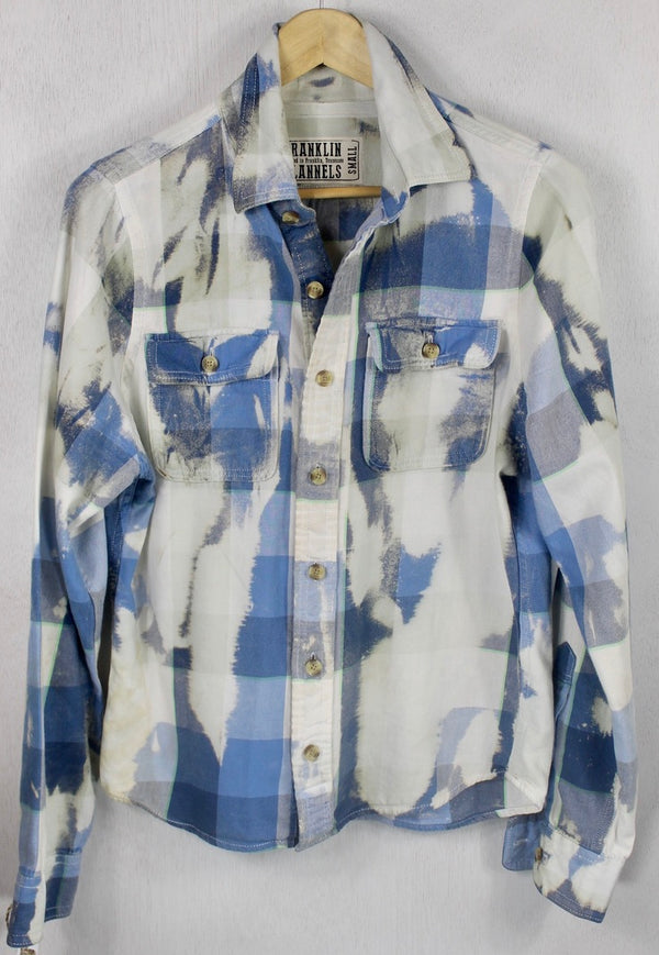 Vintage Sky Blue, White and Dove Grey Lightweight Flannel Size Small