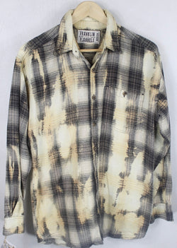 Vintage Chocolate Brown, Light Yellow and Gold Flannel Size Medium