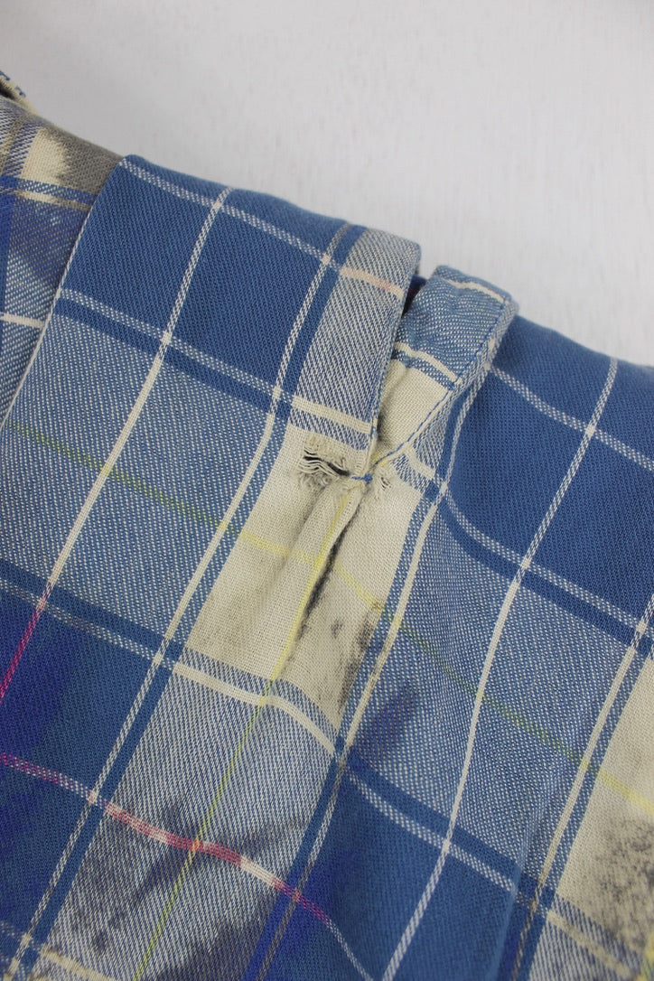 Vintage Royal Blue, Grey and Cream Grunge Flannel Size Medium
