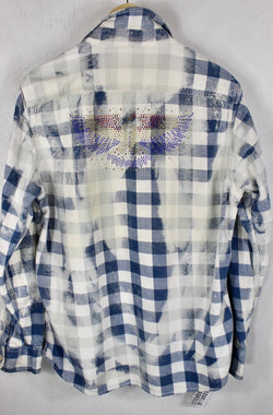 Fanciful Vintage Blue and White Flannel with American Eagle Size Small