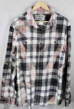 Vintgae Black, Grey, White and Pink Flannel Size XL