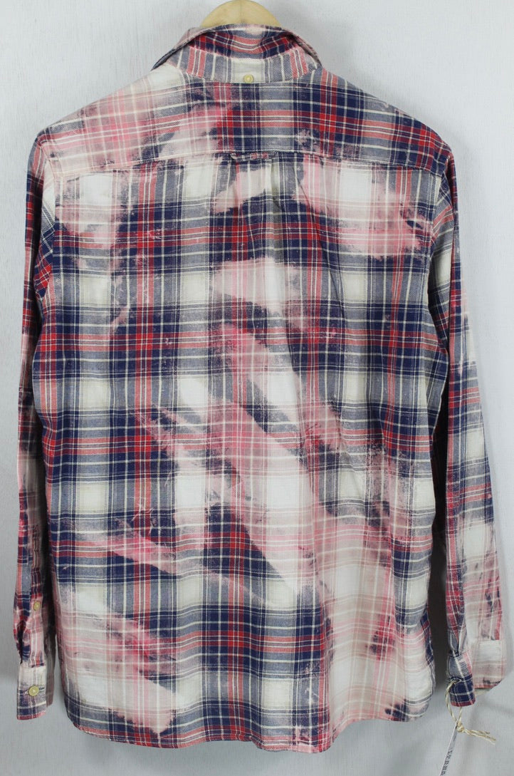 Vintage Navy Blue, Red, Pink and White Flannel Size Medium