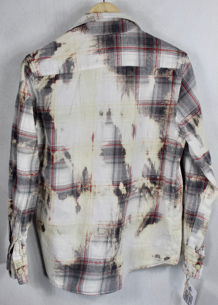 Vintage Grey, Cream and Red Flannel Size Small