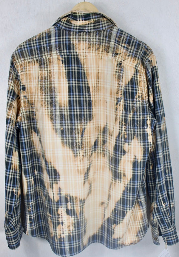 Vintage Blue, Grey and Cream Flannel Size Medium