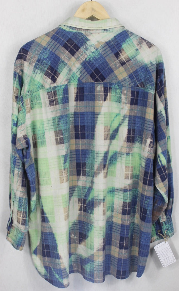 Vintage Blue, Turquoise and Seafoam Green Grunge Flannel Size XL