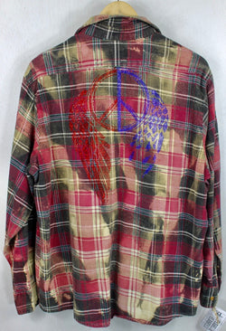 Vintage Deep Red, Grey and Blue Flannel with Bling Size Large