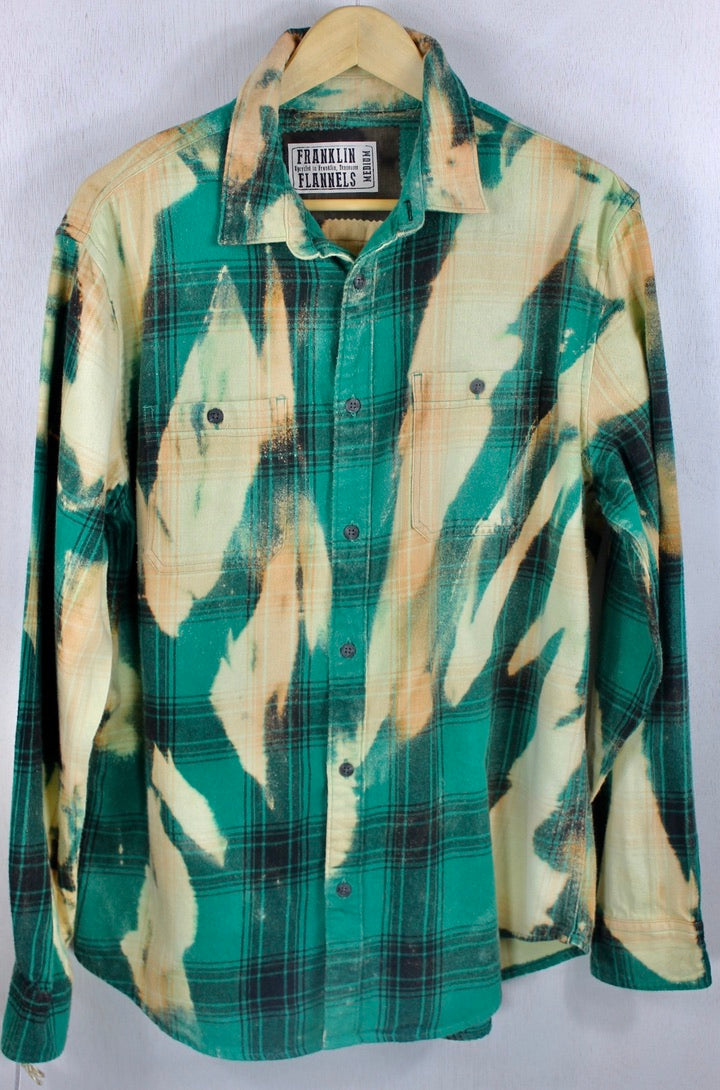 Vintage Emerald Green, Black and Cream Flannel Size Medium