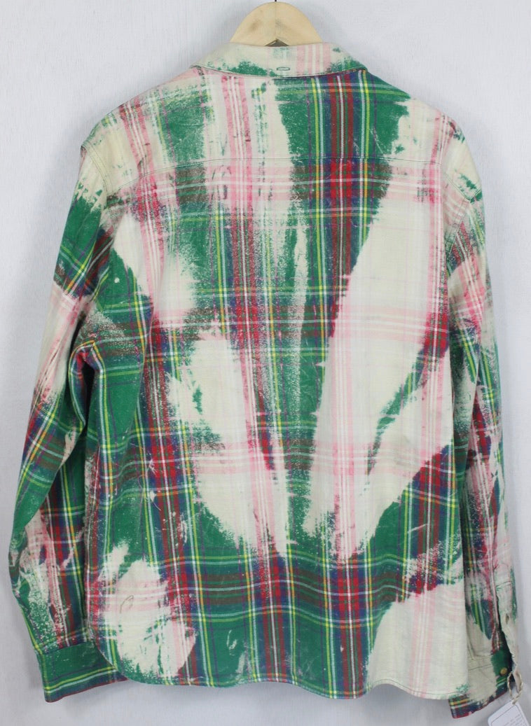 Vintage Kelly Green, Red and Cream Flannel Size Large