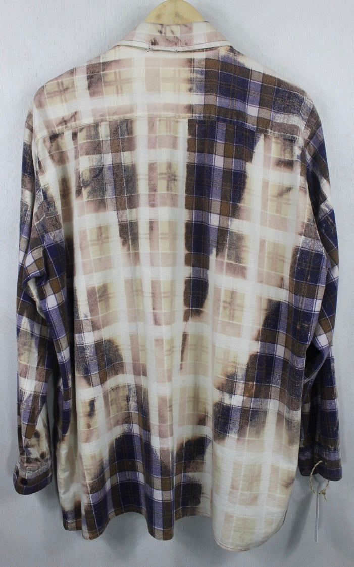 Vintage Blue, Chocolate Brown and Cream Grunge Flannel Size XL