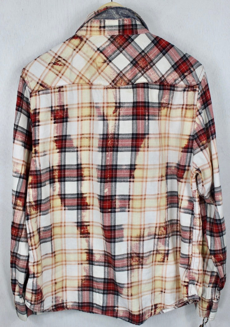 Vintage Western-cut Red, Black, White and Gold Flannel Size Small