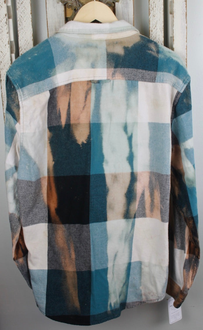 Vintage Turquoise, Black, White, and Gold Flannel Size Large
