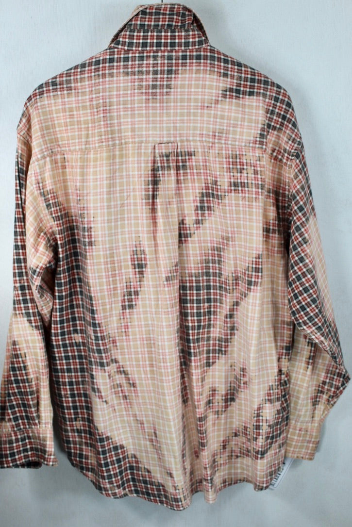 Vintage Pink, Grey and Faded Red Lightweight Flannel Size XL