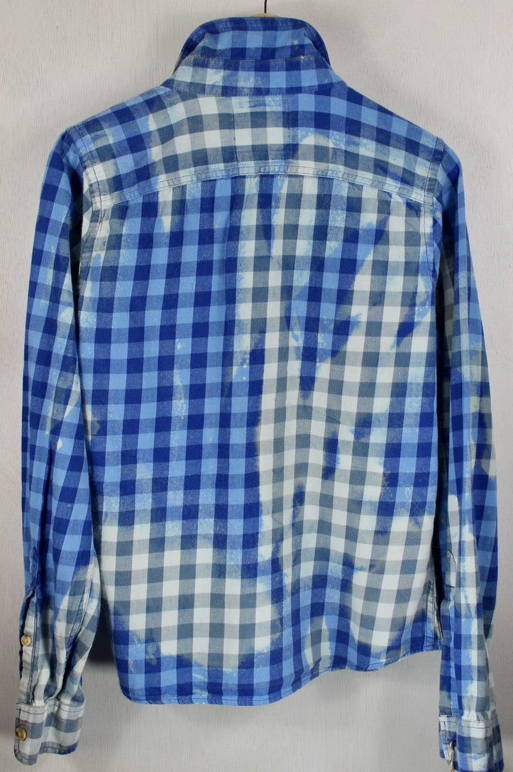 Vintage Bright and Light Blue Flannel Size Small