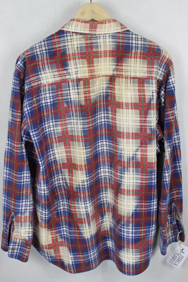 Vintage Blue, Cream and Burgundy Flannel Size Large