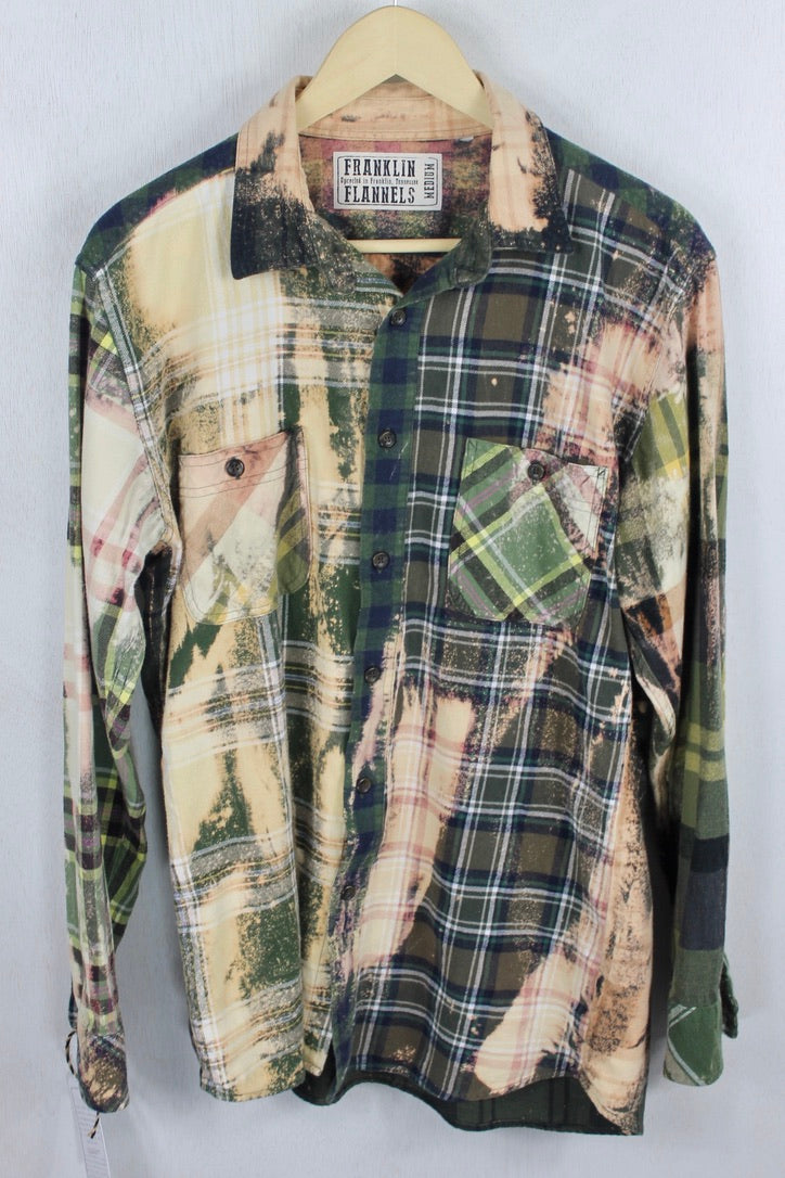 Vintage Army Green, Cream, and Blue Flannel Size Medium