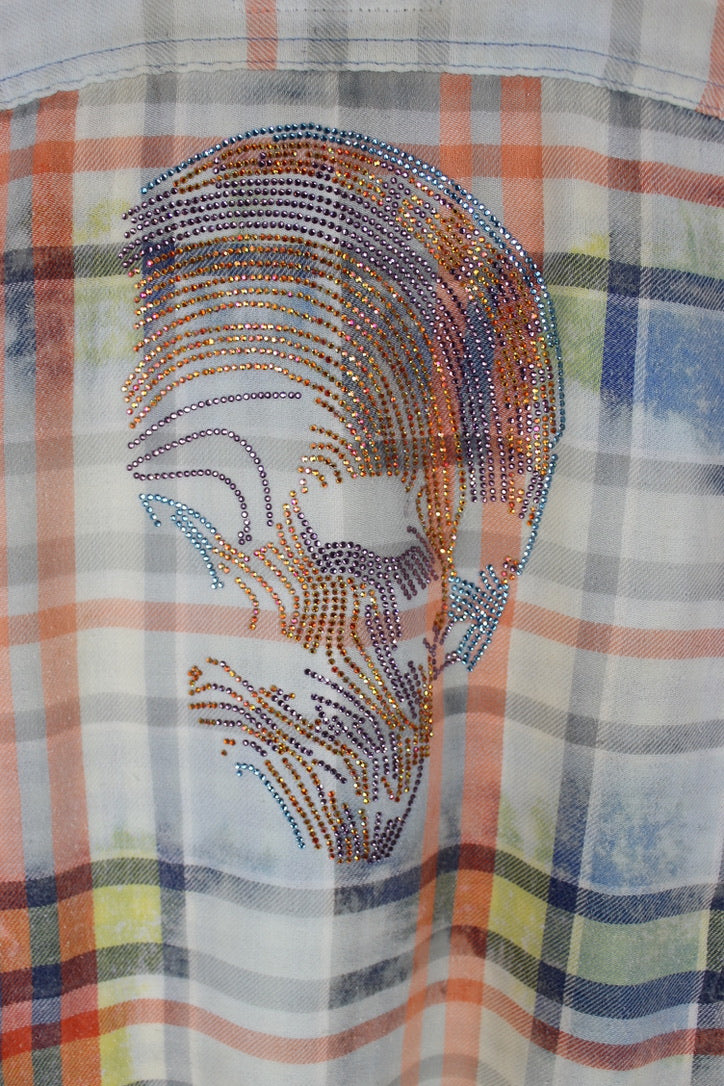 Fanciful Vintage Blue, White and Coral Flannel with Skull Size Small