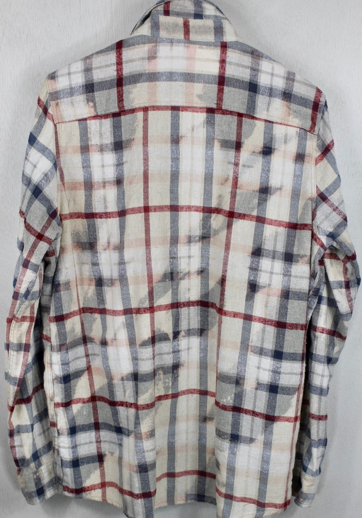 Vintage Blue, Red and Off White Flannel Size Medium
