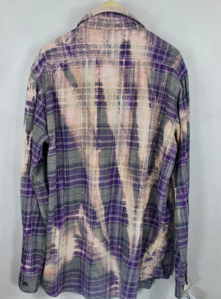 Vintage Purple, Grey and Light Pink Flannel Size XL