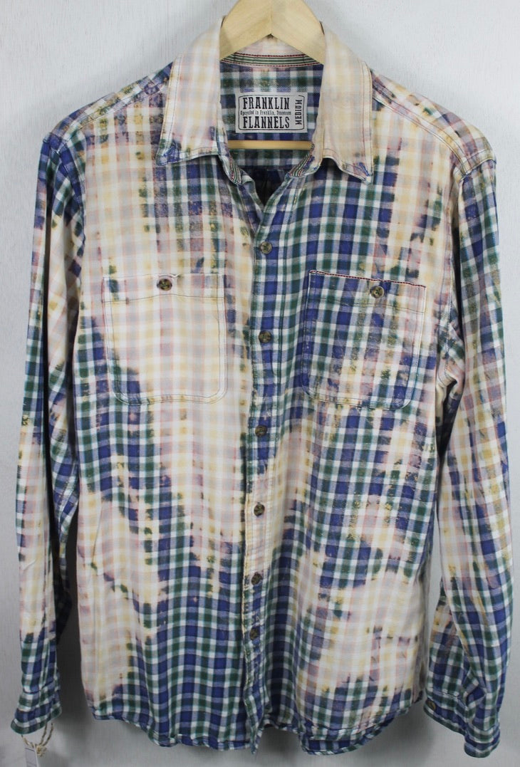 Vintage Blue, Green and White Flannel Size Medium