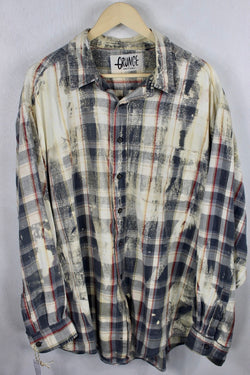 Vintage Blue and Cream Grunge Flannel Size XL