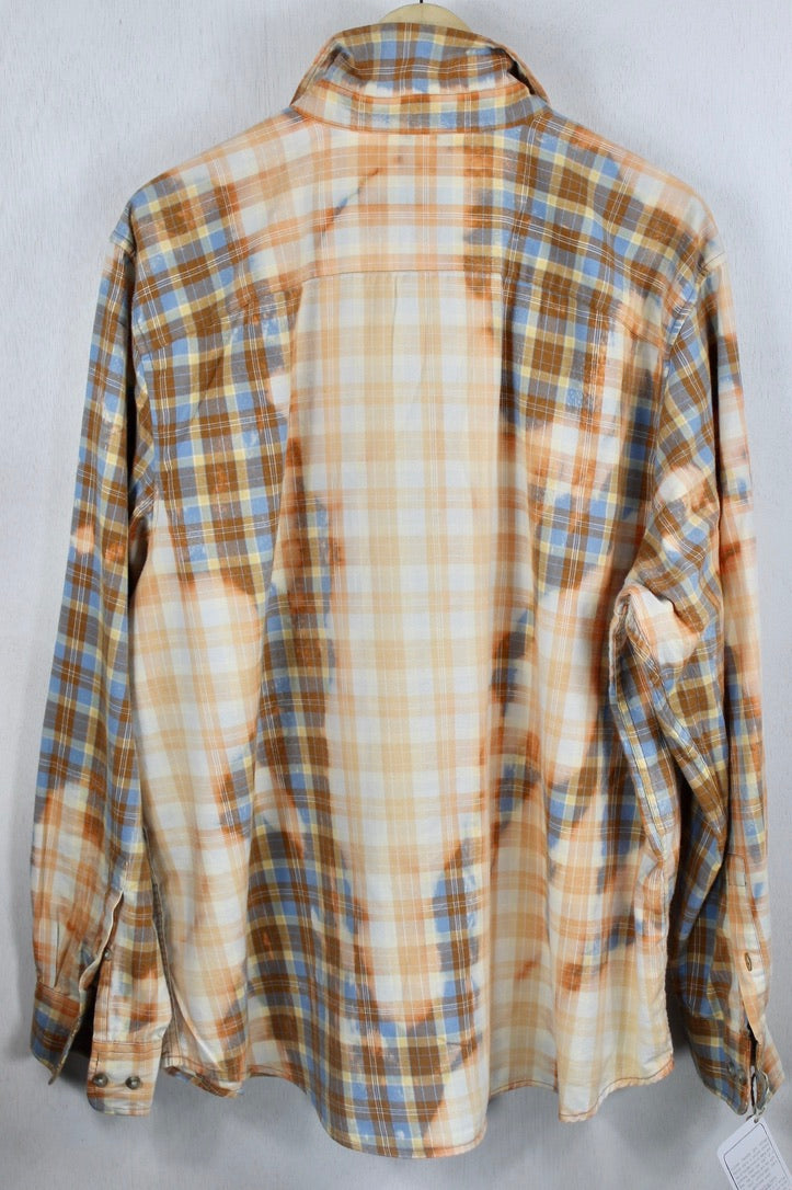 Vintage French Blue, Orange and White Flannel Size XL
