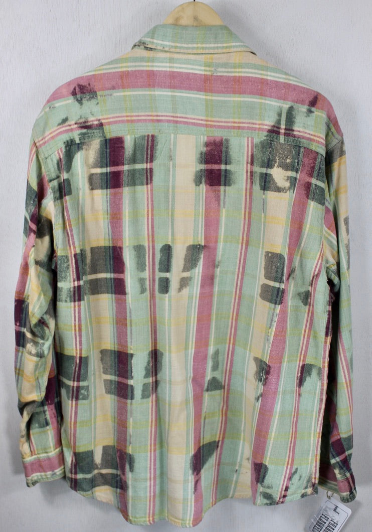 Vintage Mint Green, Pale Yellow and Light Red Flannel Size Large