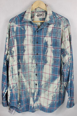 Vintage Grunge Teal, Cream and Red Flannel Size Large