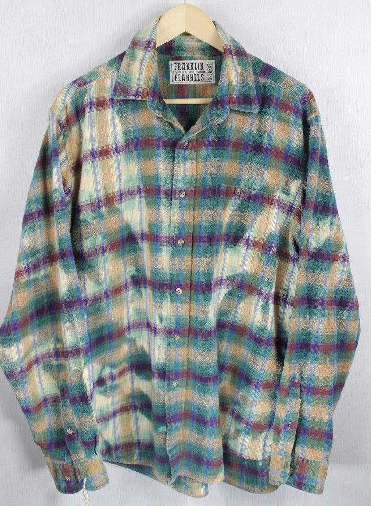 Vintage Light and Dark Green, Burgundy and Pale Yellow Flannel Size XL