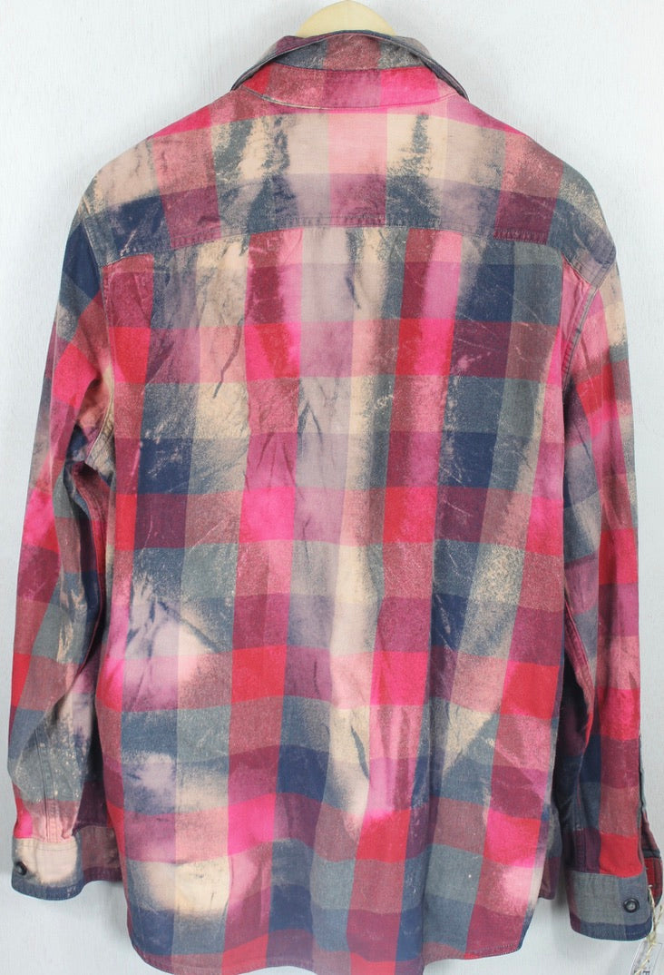 Vintage Red, Grey and Blue Flannel Size Large