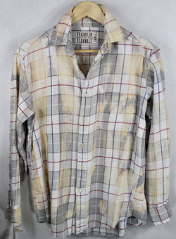 Vitnage Light Grey, Butter Yellow and White Lightweight Flannel Size Small
