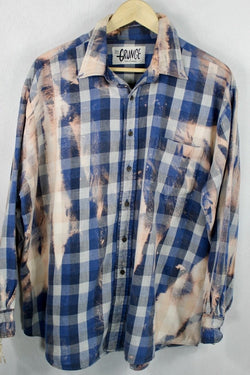 Vintage Navy Blue, Grey and Light Pink Grunge Flannel Size XL