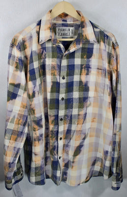 Vintage Blue, Army Green, Peach and Lavender Flannel Size Large