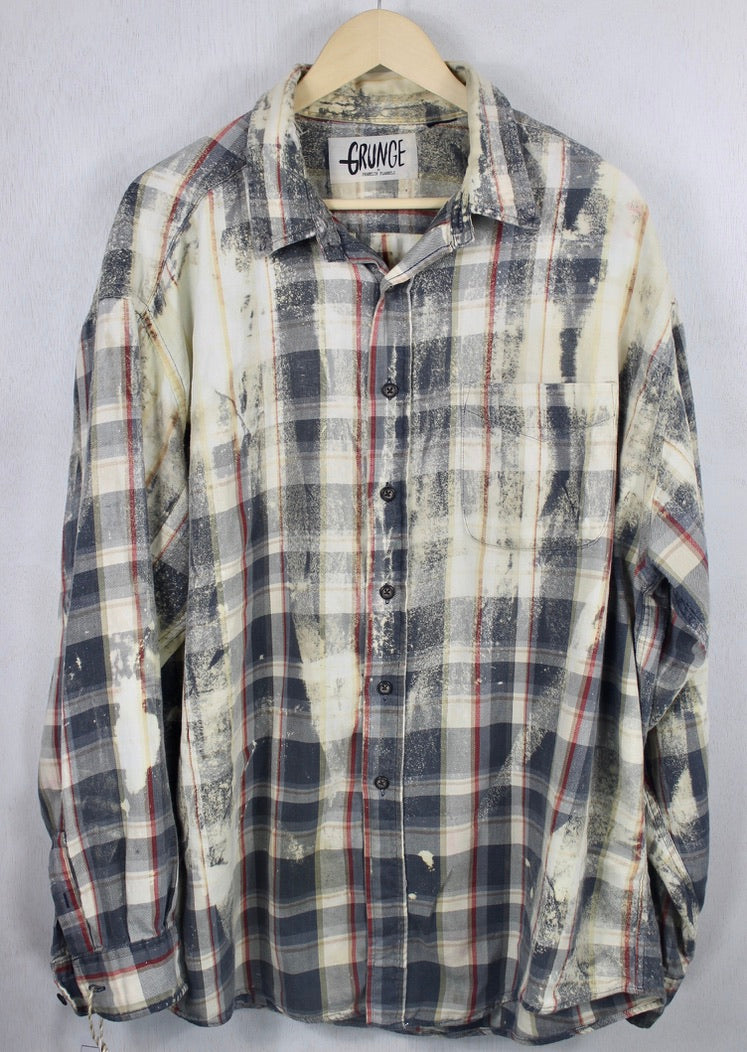 Vintage Grey, Cream and Red Grunge Flannel Size XL