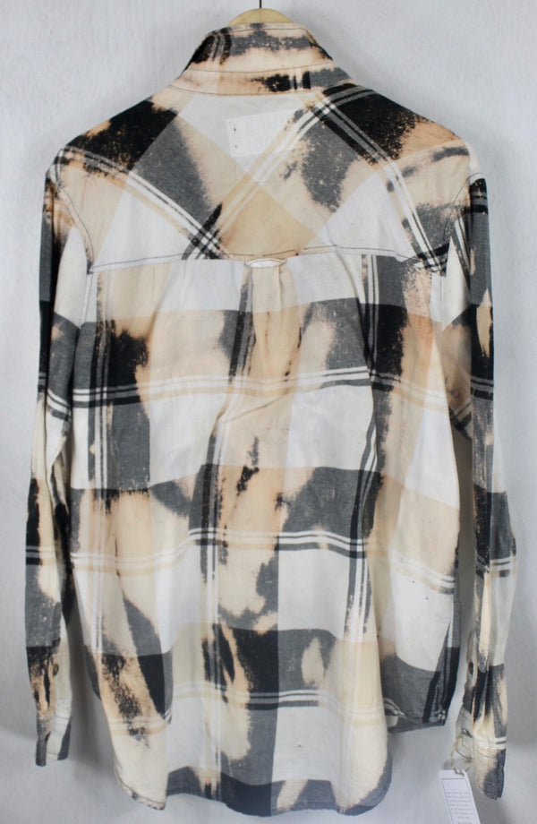 Vintage Black, Peach, Grey and White Flannel Size Medium