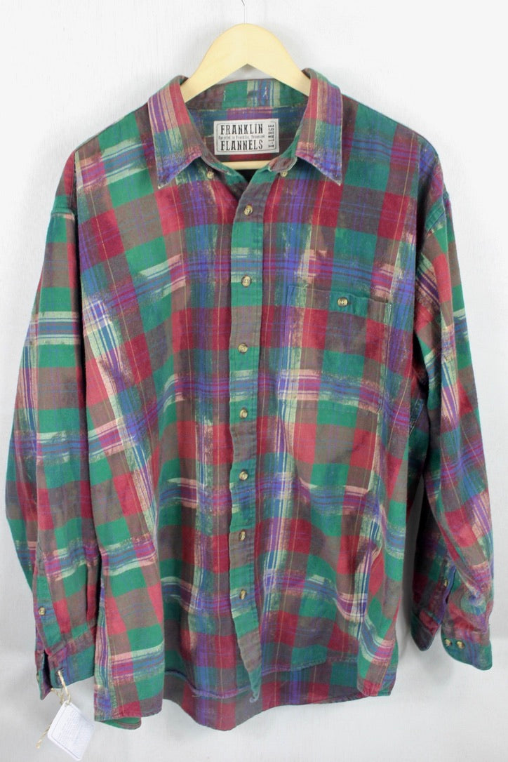 Vintage Burgundy, Forest Green and Royal Blue Flannel Size XL