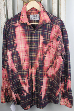 Vintage Blue, Dark Red, and Pink Flannel Size Large