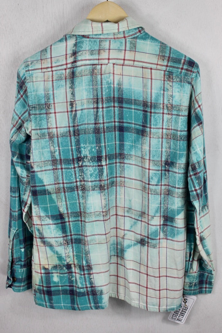 Vintage Turquoise, Light Blue, and Red Flannel Size Small